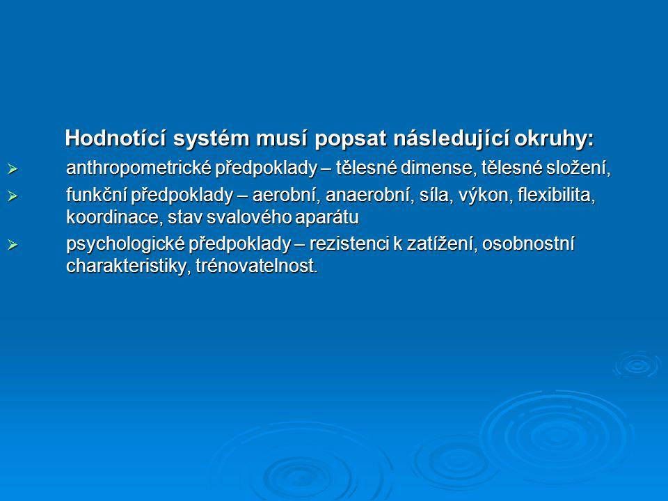 Hodnotící systém musí popsat následující okruhy: