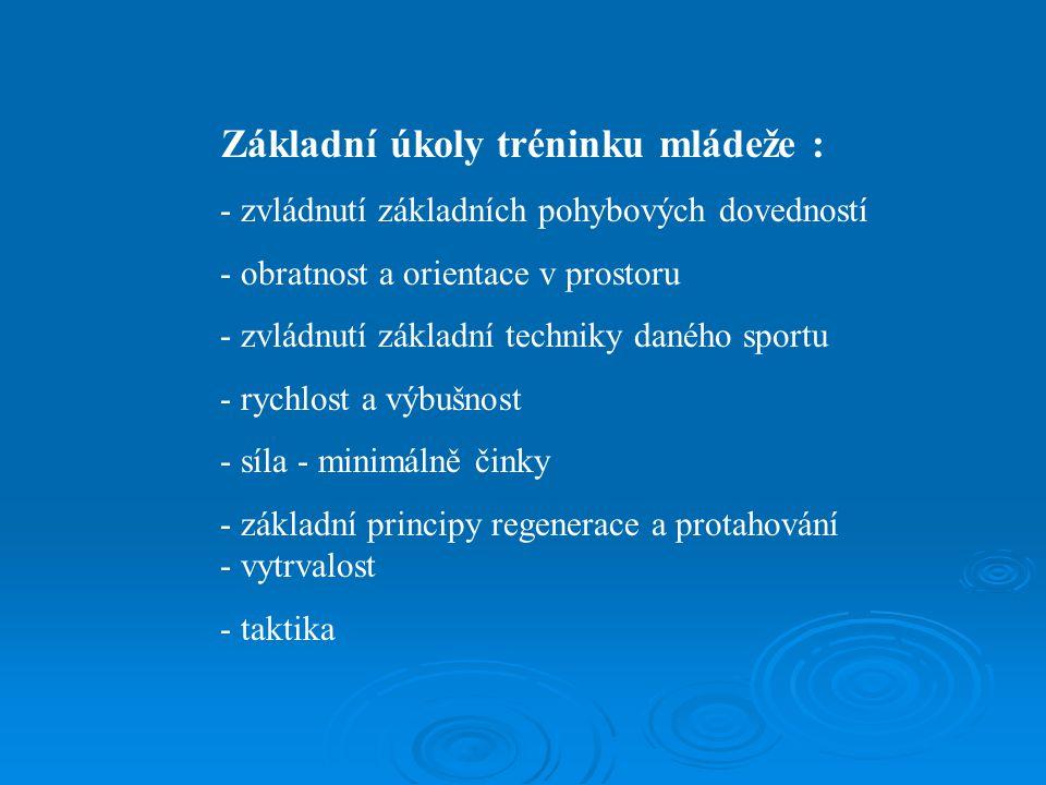 Základní úkoly tréninku mládeže :