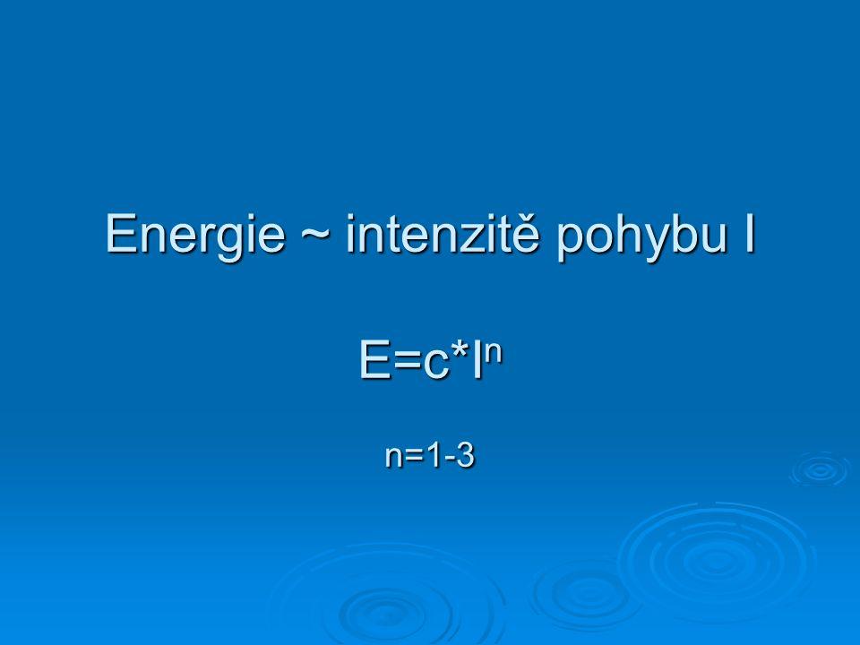 Energie ~ intenzitě pohybu I E=c*In n=1-3
