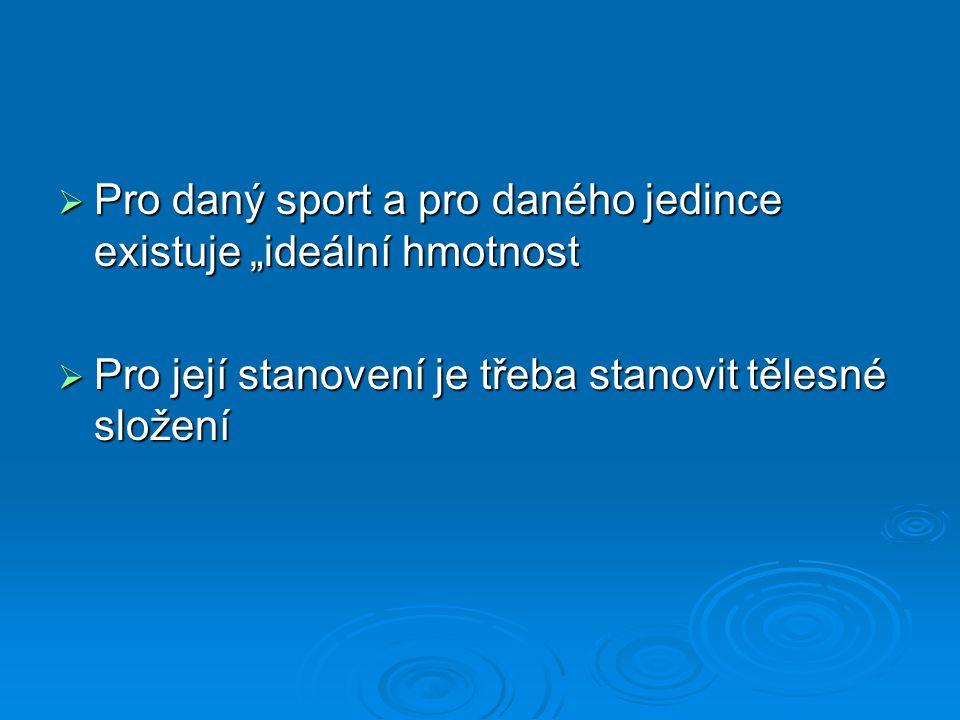 """Pro daný sport a pro daného jedince existuje """"ideální hmotnost"""