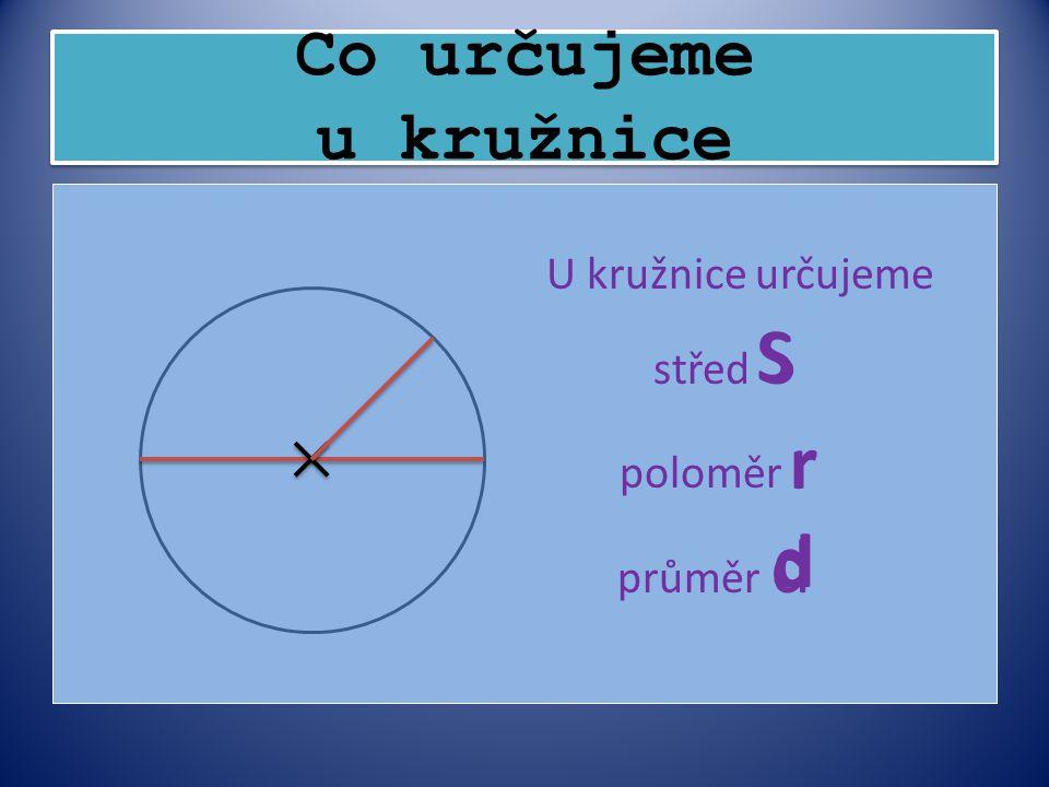 S r d Co určujeme u kružnice průměr d U kružnice určujeme střed S