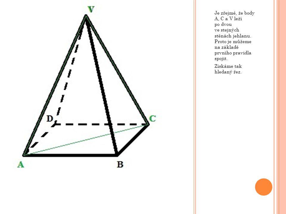 Je zřejmé, že body A, C a V leží po dvou ve stejných stěnách jehlanu