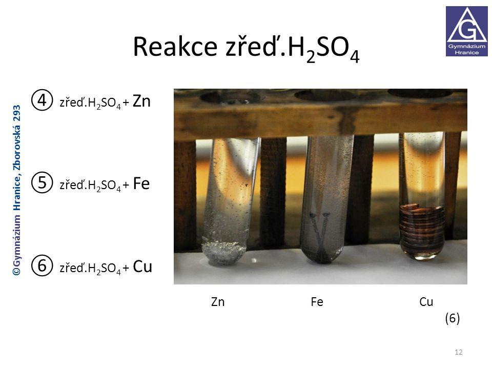 Reakce zřeď.H2SO4 ④ zřeď.H2SO4 + Zn ⑤ zřeď.H2SO4 + Fe ⑥ zřeď.H2SO4 + Cu Zn Fe Cu (6) ©Gymnázium Hranice, Zborovská 293.