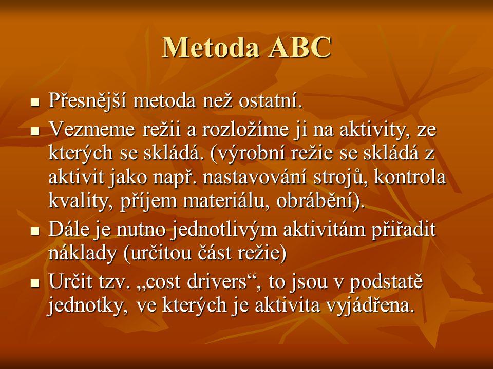 Metoda ABC Přesnější metoda než ostatní.