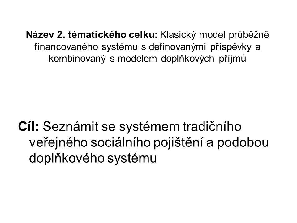 Název 2. tématického celku: Klasický model průběžně financovaného systému s definovanými příspěvky a kombinovaný s modelem doplňkových příjmů