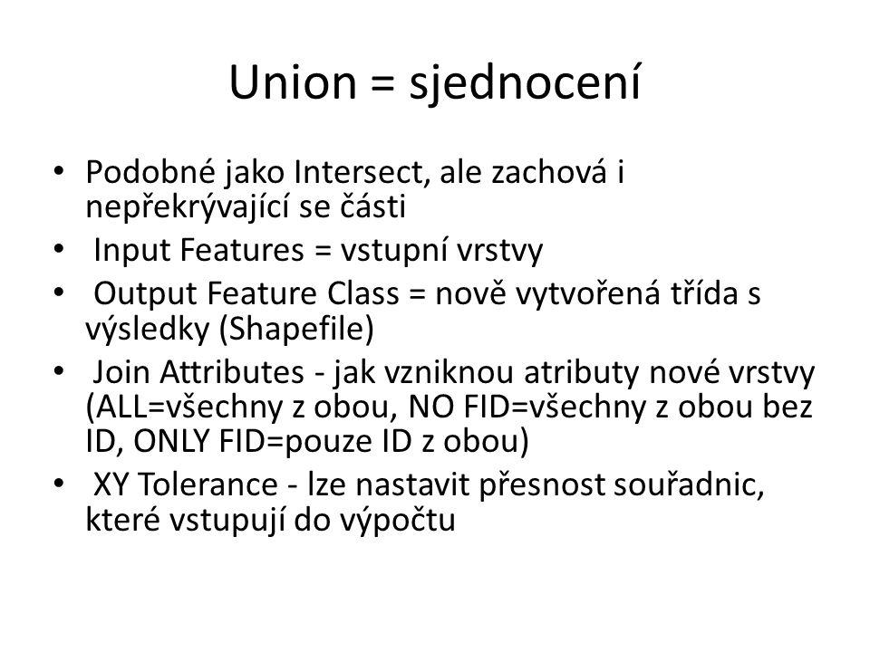 Union = sjednocení Podobné jako Intersect, ale zachová i nepřekrývající se části. Input Features = vstupní vrstvy.