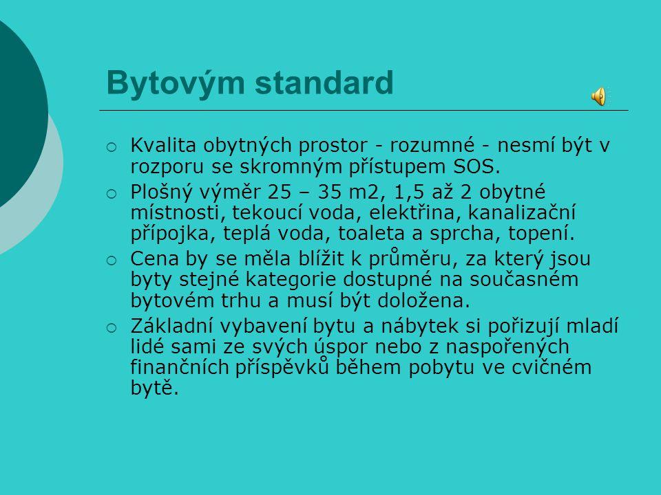 Bytovým standard Kvalita obytných prostor - rozumné - nesmí být v rozporu se skromným přístupem SOS.