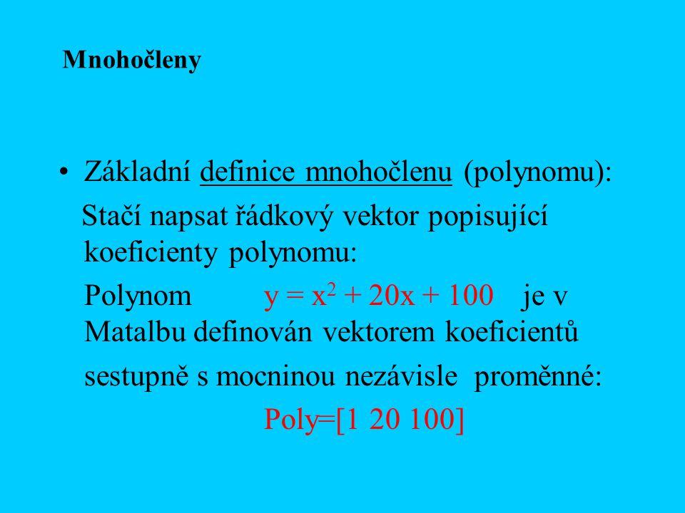 Základní definice mnohočlenu (polynomu):