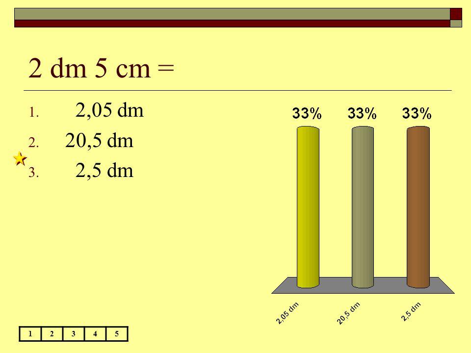 2 dm 5 cm = 2,05 dm 20,5 dm 2,5 dm 1 2 3 4 5