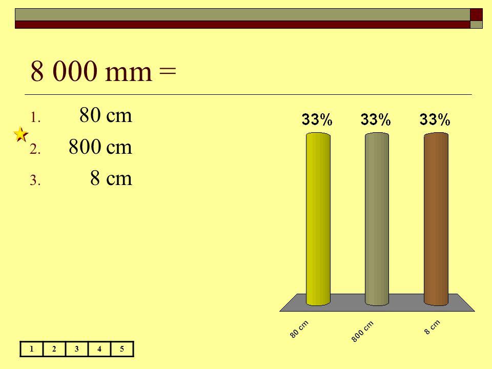8 000 mm = 80 cm 800 cm 8 cm 1 2 3 4 5