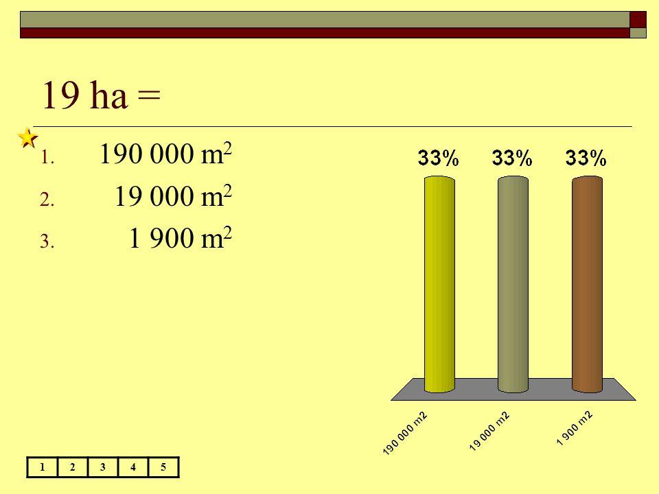 19 ha = 190 000 m2 19 000 m2 1 900 m2 1 2 3 4 5