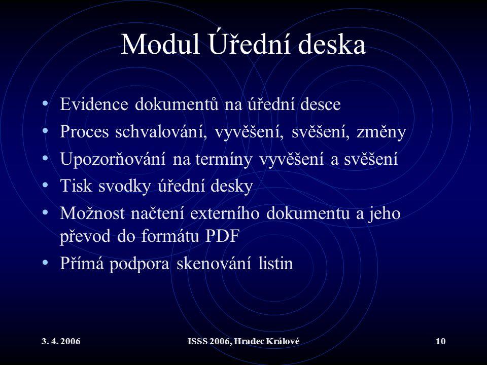 Modul Úřední deska Evidence dokumentů na úřední desce
