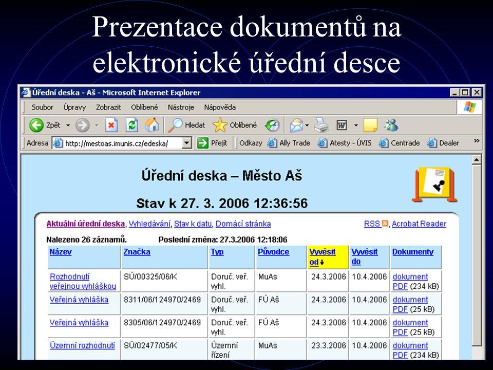 Prezentace dokumentů na elektronické úřední desce
