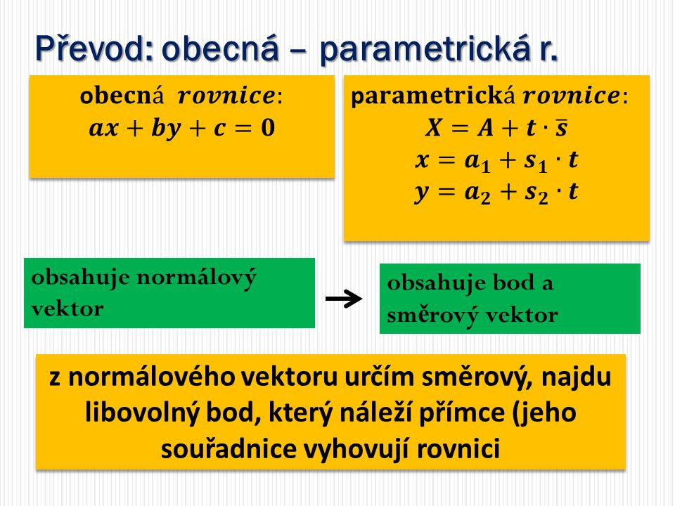Převod: obecná – parametrická r.