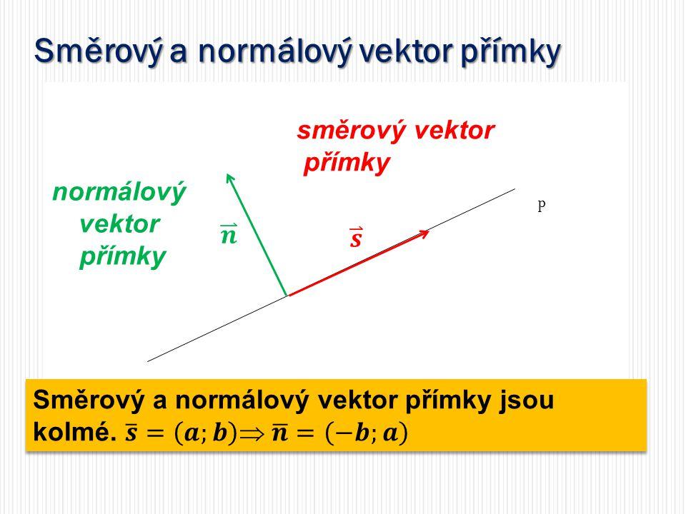 Směrový a normálový vektor přímky