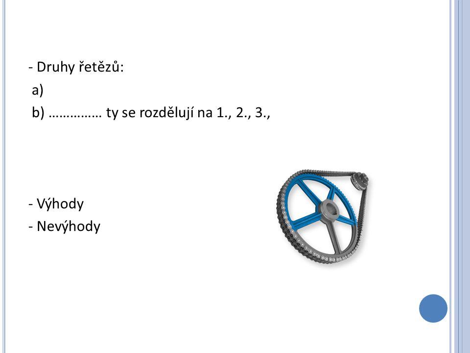 - Druhy řetězů: a) b) …………… ty se rozdělují na 1. , 2. , 3