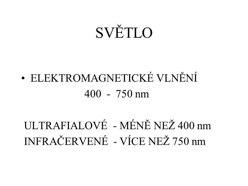 SVĚTLO ELEKTROMAGNETICKÉ VLNĚNÍ 400 - 750 nm