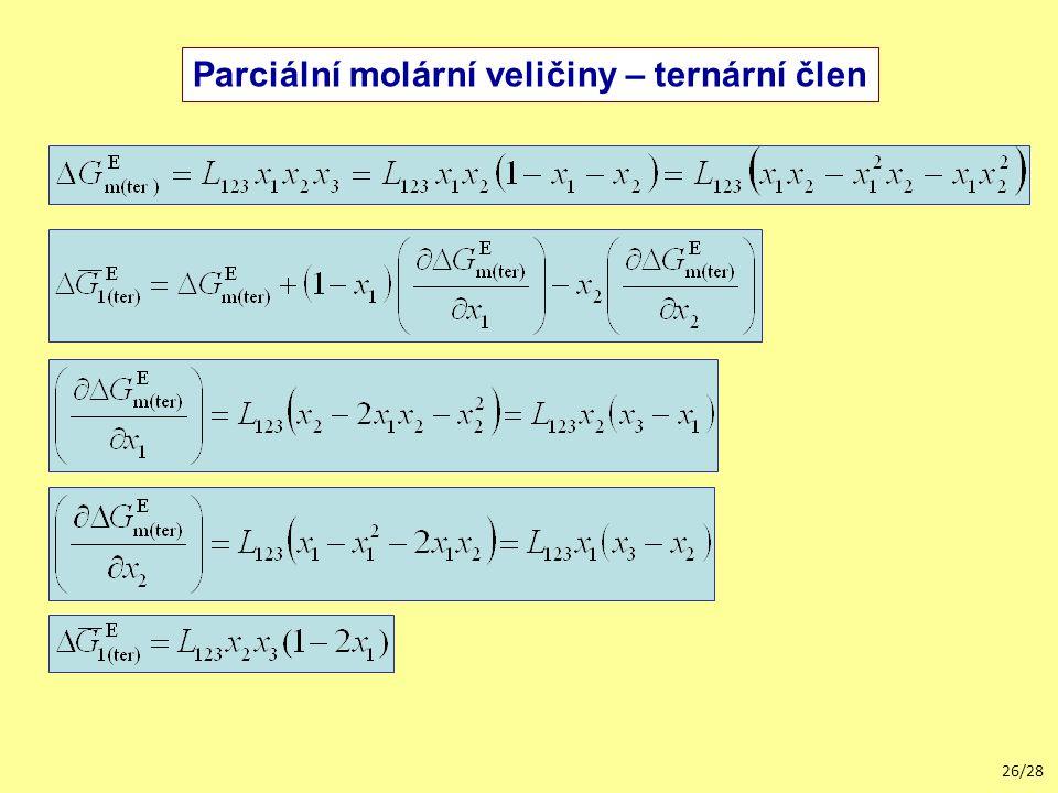 Parciální molární veličiny – ternární člen
