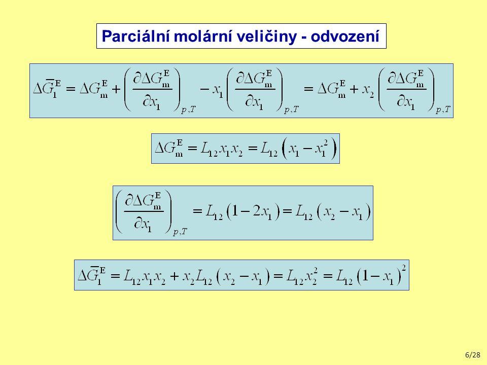 Parciální molární veličiny - odvození