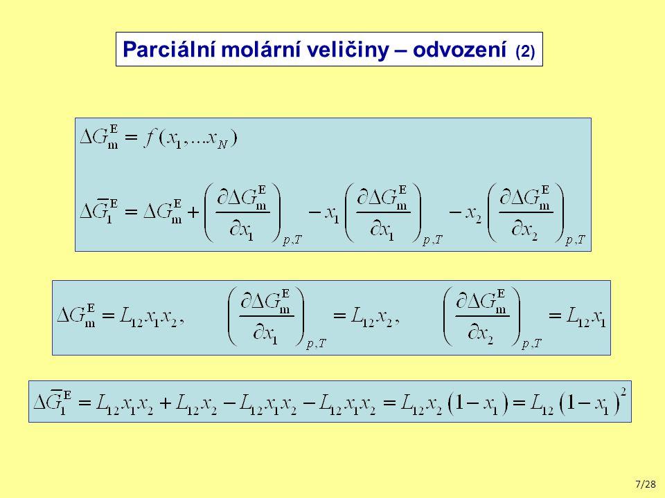 Parciální molární veličiny – odvození (2)
