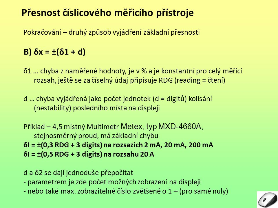 Přesnost číslicového měřicího přístroje