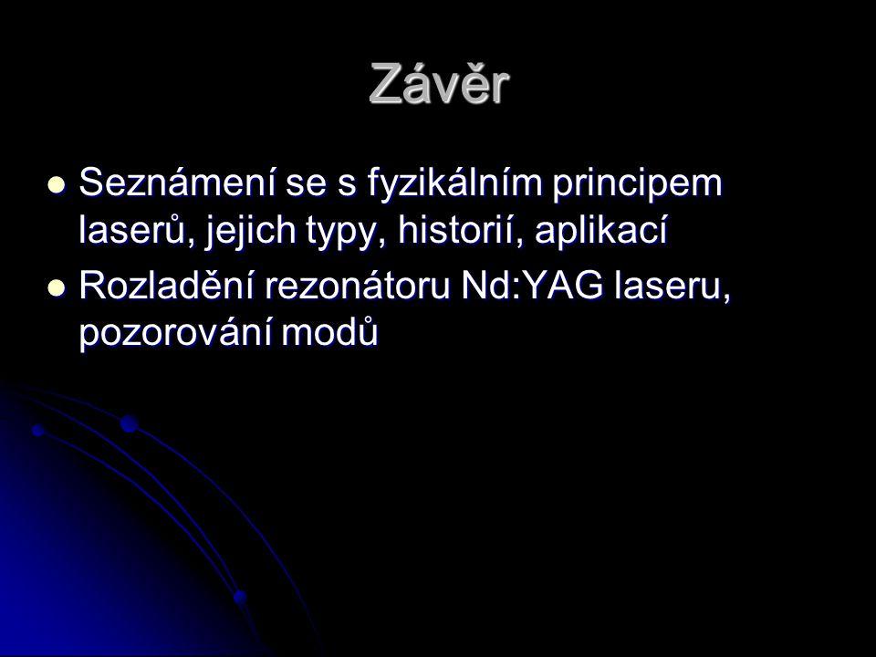 Závěr Seznámení se s fyzikálním principem laserů, jejich typy, historií, aplikací.