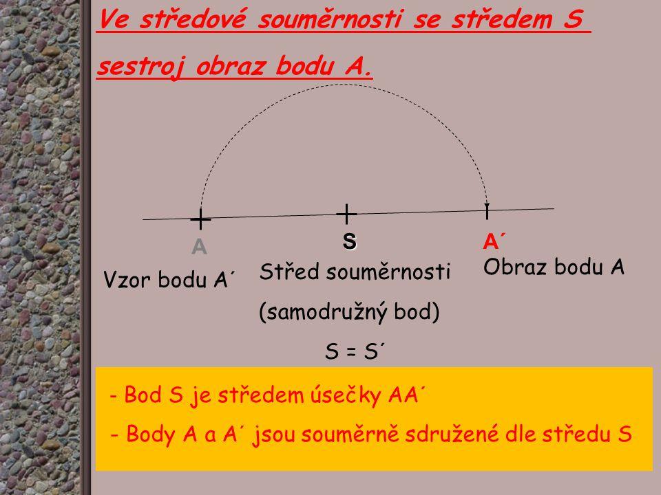 Ve středové souměrnosti se středem S sestroj obraz bodu A.