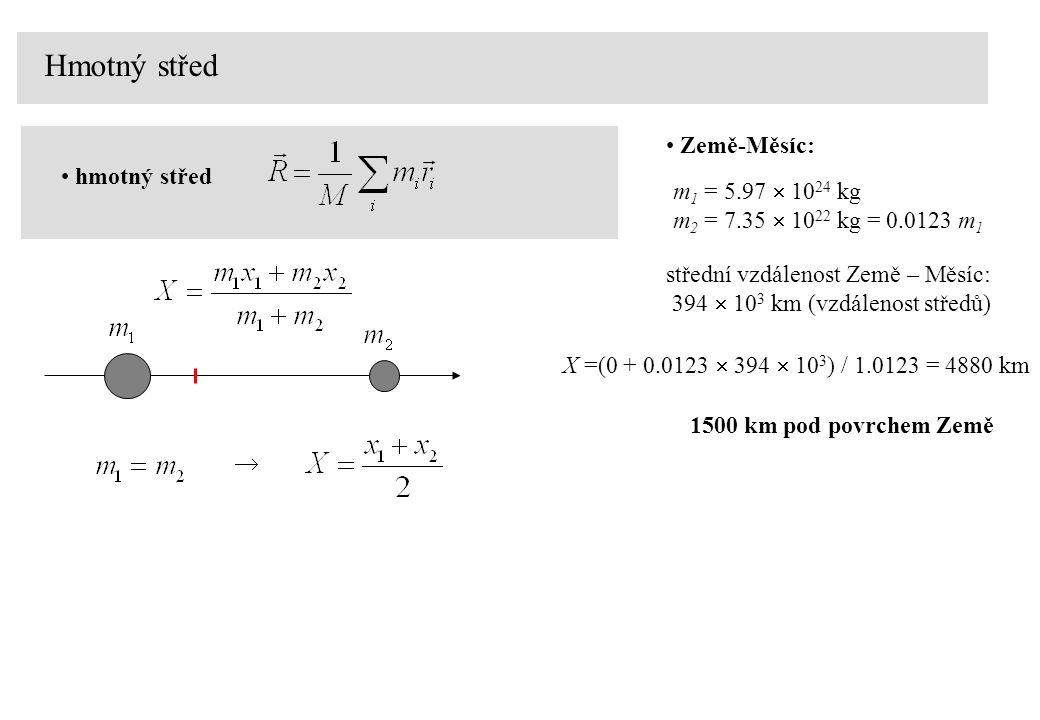 Hmotný střed Země-Měsíc: hmotný střed m1 = 5.97  1024 kg