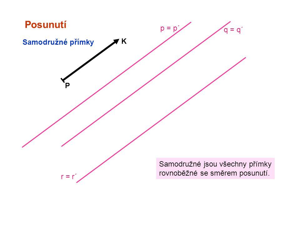Posunutí p = p´ q = q´ K Samodružné přímky P