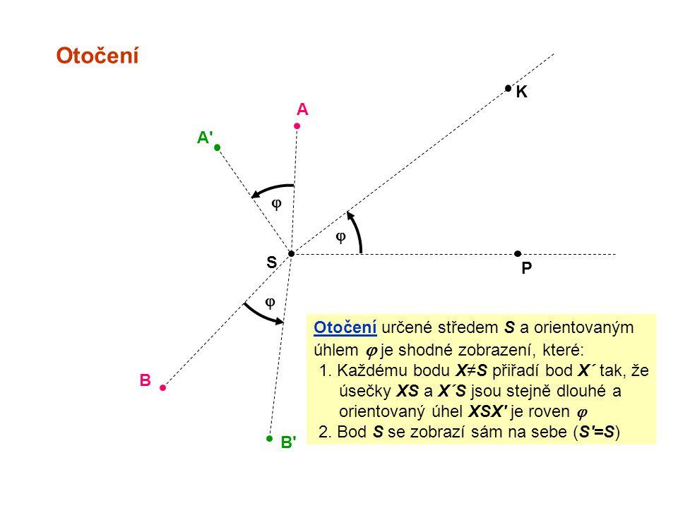 Otočení K A A j j S P j Otočení určené středem S a orientovaným