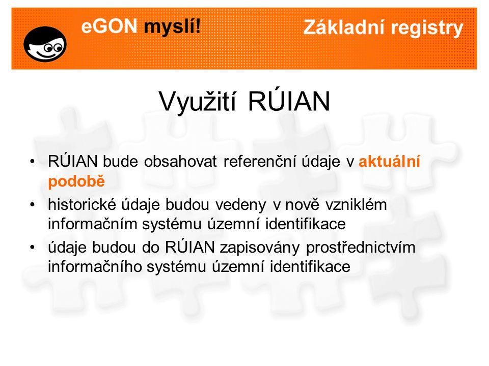 Využití RÚIAN RÚIAN bude obsahovat referenční údaje v aktuální podobě