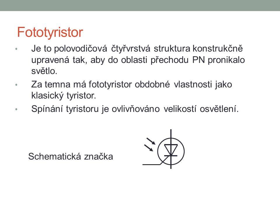 Fototyristor Je to polovodičová čtyřvrstvá struktura konstrukčně upravená tak, aby do oblasti přechodu PN pronikalo světlo.