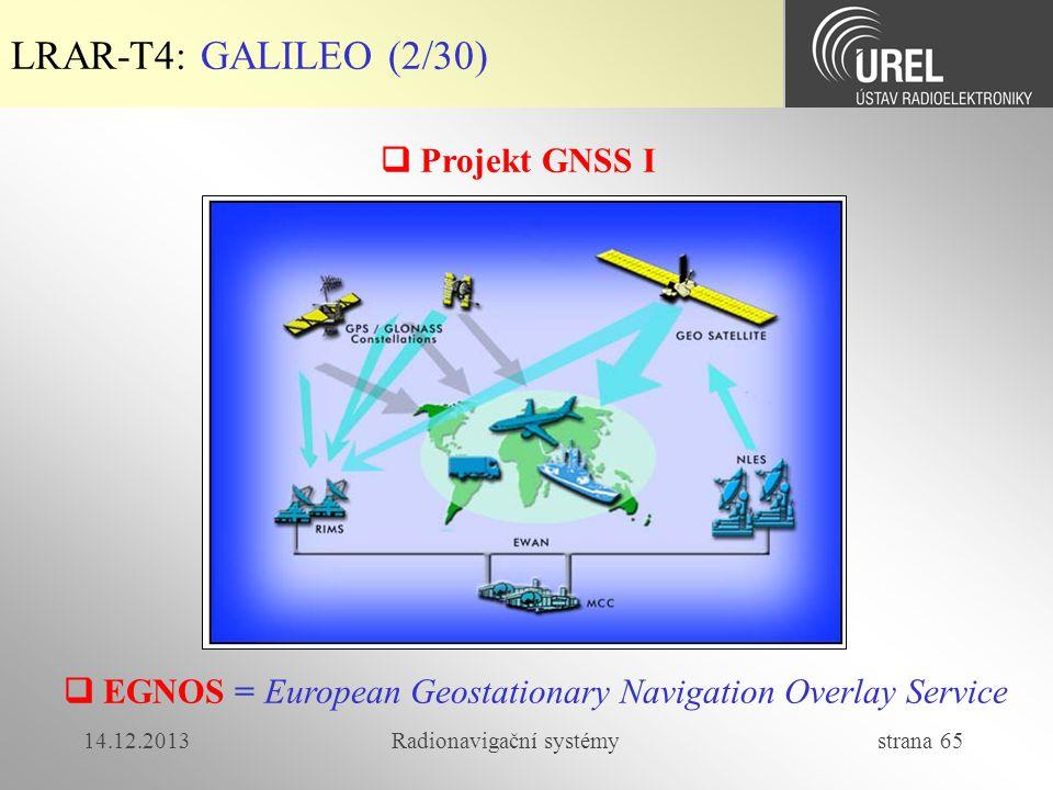 LRAR-T4: GALILEO (2/30)  Projekt GNSS I