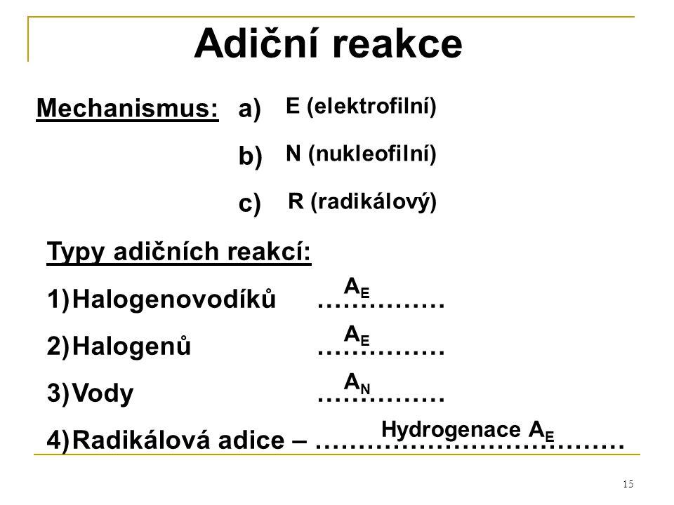 Adiční reakce Mechanismus: a) b) c) Typy adičních reakcí: