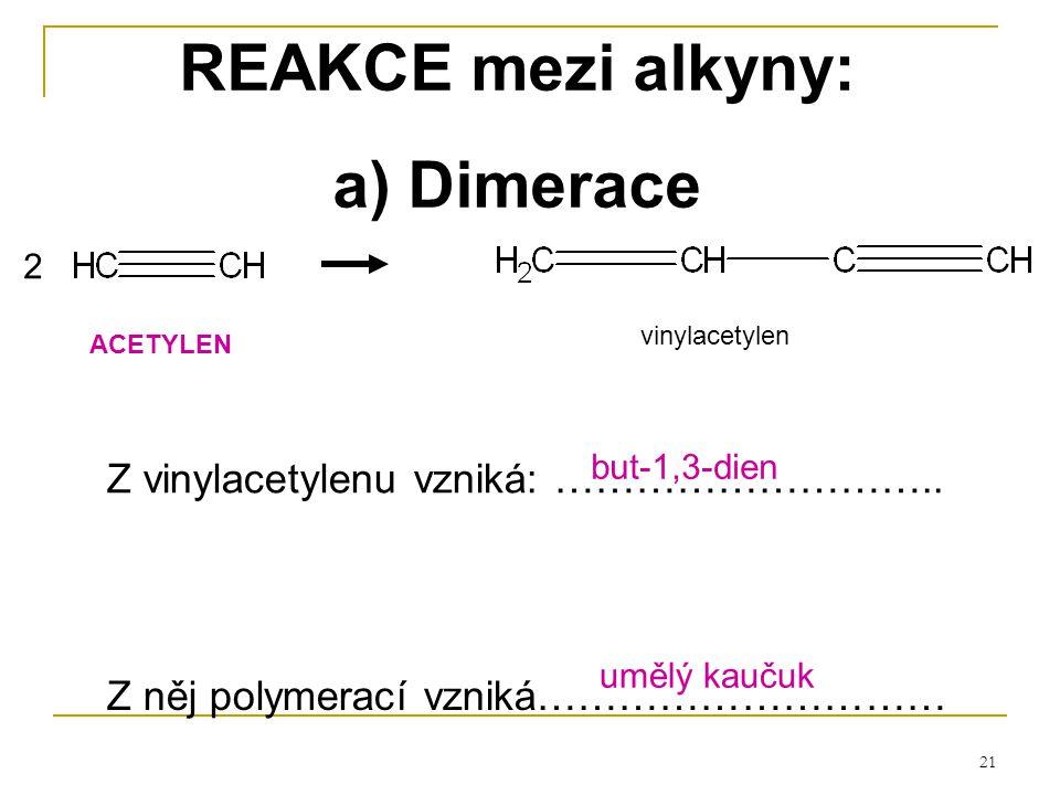 REAKCE mezi alkyny: a) Dimerace