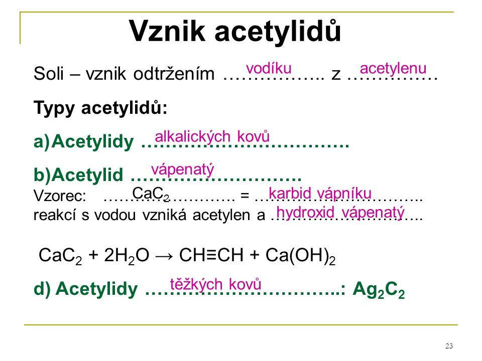 Vznik acetylidů Soli – vznik odtržením …………….. z …………… Typy acetylidů: