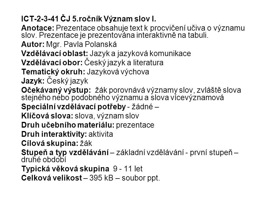 ICT-2-3-41 ČJ 5.ročník Význam slov I.