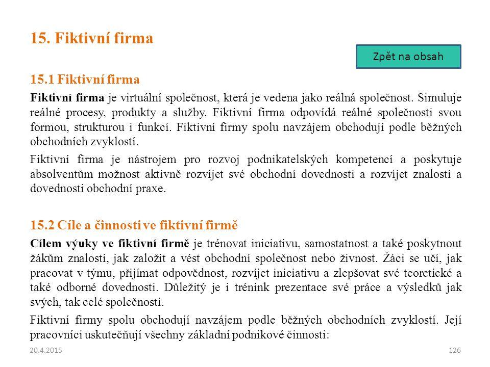 15. Fiktivní firma 15.1 Fiktivní firma
