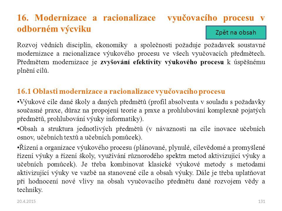 16. Modernizace a racionalizace vyučovacího procesu v odborném výcviku