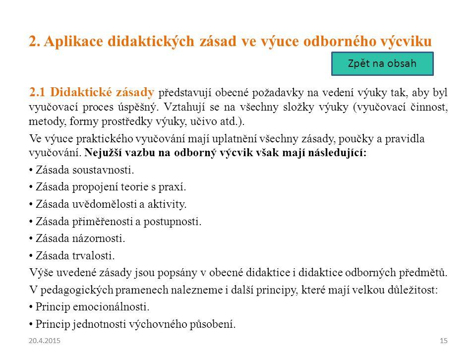 2. Aplikace didaktických zásad ve výuce odborného výcviku