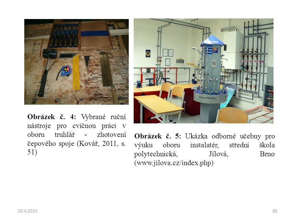 Obrázek č. 4: Vybrané ruční nástroje pro cvičnou práci v oboru truhlář - zhotovení čepového spoje (Kovář, 2011, s. 51)