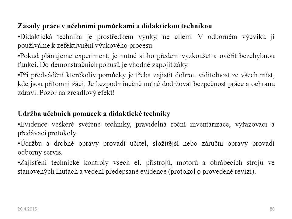 Zásady práce v učebními pomůckami a didaktickou technikou