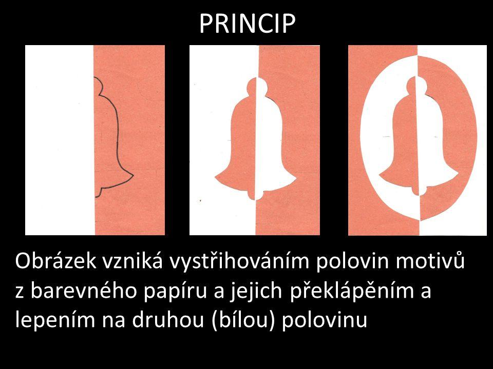 PRINCIP Obrázek vzniká vystřihováním polovin motivů z barevného papíru a jejich překlápěním a lepením na druhou (bílou) polovinu.