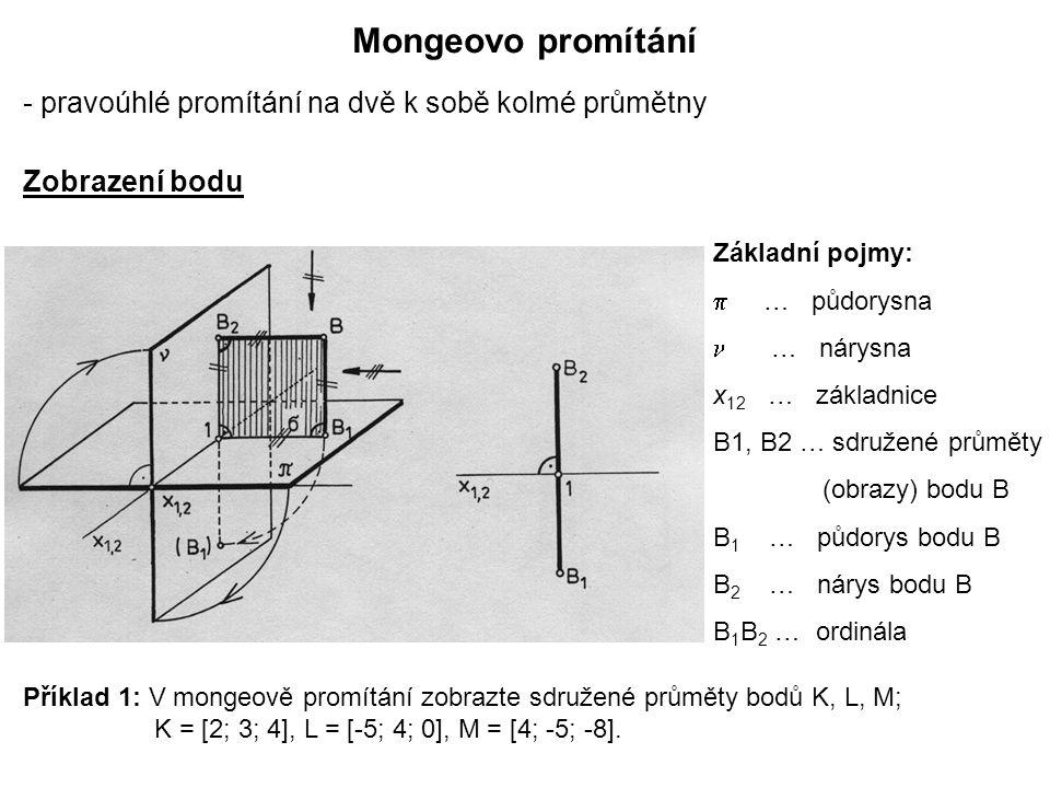 Mongeovo promítání - pravoúhlé promítání na dvě k sobě kolmé průmětny