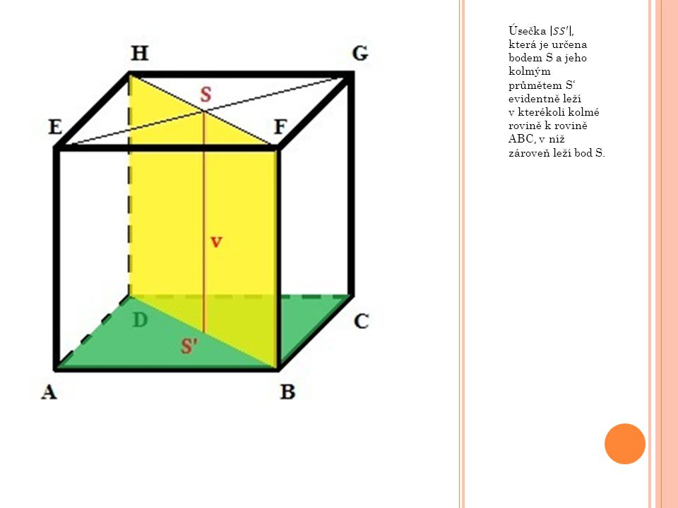 Úsečka 𝑆𝑆′ , která je určena bodem S a jeho kolmým průmětem S' evidentně leží v kterékoli kolmé rovině k rovině ABC, v níž zároveň leží bod S.