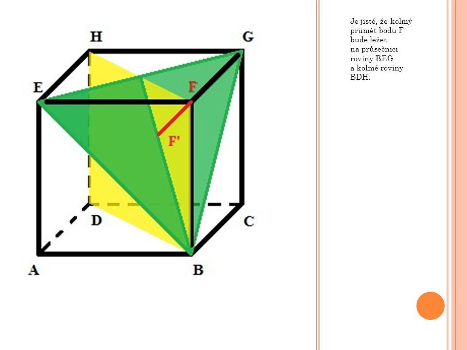Je jisté, že kolmý průmět bodu F bude ležet na průsečnici roviny BEG a kolmé roviny BDH.