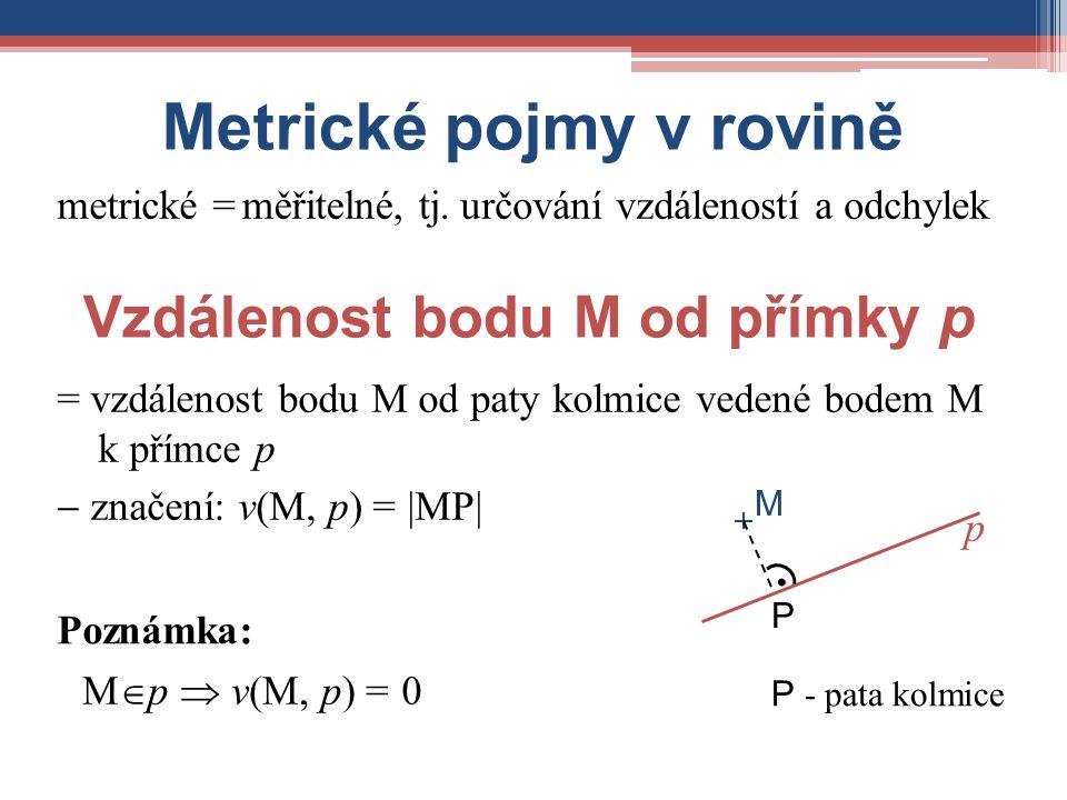 Metrické pojmy v rovině Vzdálenost bodu M od přímky p