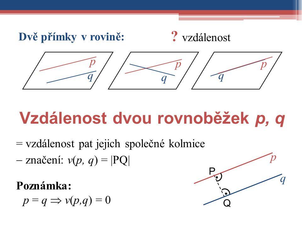 Vzdálenost dvou rovnoběžek p, q