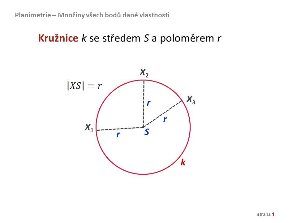 Kružnice k se středem S a poloměrem r