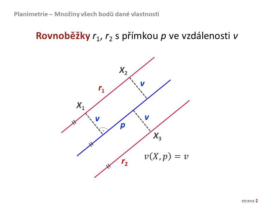 Rovnoběžky r1, r2 s přímkou p ve vzdálenosti v